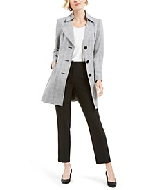Belted Plaid-Jacket Pants Suit