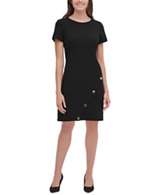 Tommy Hilfiger Buttoned Scuba Crepe Sheath Dress