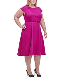 Plus Size Belted Midi Dress