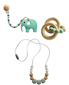 Tiny Teethers Infant 3 Piece Silicone and Beech Wood Teething Gift Set, Elephant