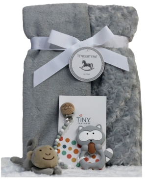 3 Stories Trading Infant Blanket Gift Set with Pacifier Clip, Teether and Toy