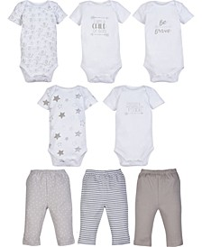 Boys and Girls 5-Pack Short Sleeve Bodysuit and 3-Pack pant outfit
