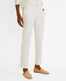 Straight Cotton-Blend Pants