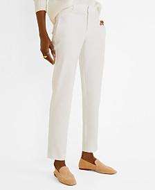 Mango Straight Cotton-Blend Pants