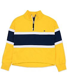 Tommy Hilfiger Big Girls Colorblocked Quarter-Zip 1985 Top