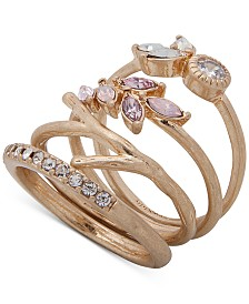 lonna & lilly Gold-Tone 4-Pc. Set Crystal & Stone Stack Rings