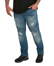 MVP Collections Men's Big & Tall Denim Biker Jean