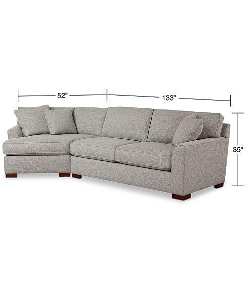 Carena 2 Pc Fabric Sectional Sofa