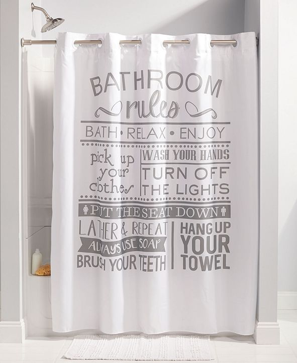 Hookless Bathroom Rules Shower Curtain & Reviews - Shower ...
