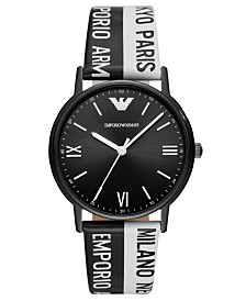 LIMITED EDITION Emporio Armani Black & White Logo Leather Strap Watch 41mm, Created for Macy's
