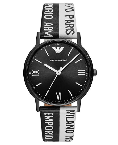 Emporio Armani LIMITED EDITION Black & White Logo Leather Strap Watch 41mm, Created for Macy's