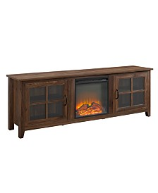 Walker Edison Farmhouse Wood Fireplace TV Stand with Glass Doors