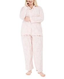 Plus Size Printed Fleece Pajamas Set, Created for Macy's