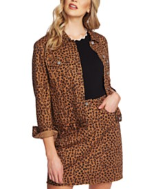 CeCe Leopard-Print Denim Jacket