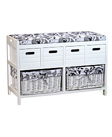 Vintiquewise Storage Bench with 4 Drawers and 2 Wicker Baskets