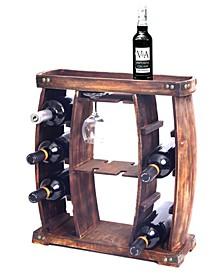 Rustic Wooden Wine Rack with Glass Holder, 8 Bottle Decorative Wine Holder