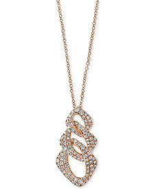 EFFY® Diamond Interlocking Link Statement Necklace (3/4 ct. t.w.) in 14k Rose Gold