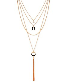 """Gold-Tone Crystal, Faux-Leather Horseshoe & Chain Tassel Multi-Row Necklace, 16"""" + 2"""" extender"""