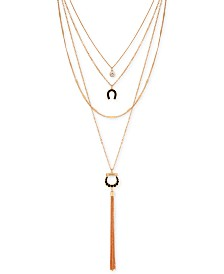 "GUESS Gold-Tone Crystal, Faux-Leather Horseshoe & Chain Tassel Multi-Row Necklace, 16"" + 2"" extender"