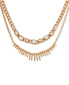 "Gold-Tone Crystal & Spike Double-Row Necklace, 16"" + 2"" extender"