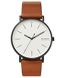 Skagen Men's Signatur Cognac Leather Strap Watch 45mm