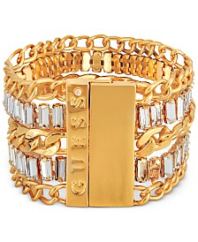 GUESS Gold-Tone Crystal Multi-Row Magnetic Bracelet