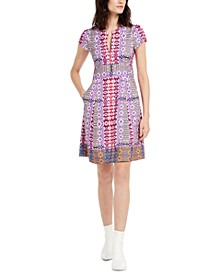 Mixed-Print A-Line Dress