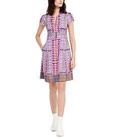 Mixed-Print A-Line Dress
