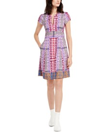 Nanette Lepore Mixed-Print A-Line Dress