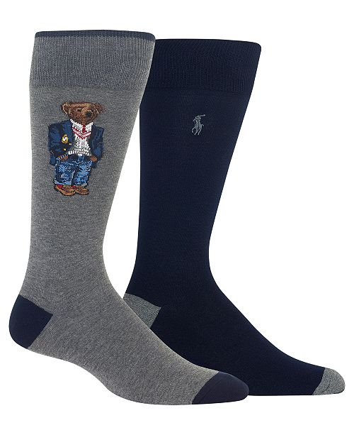 Polo Ralph Lauren Men's 2-Pk. Preppy Bear Socks