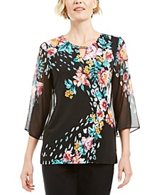 Chiffon Printed Keyhole Top, Created for Macy's