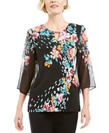 JM Collection Chiffon Printed Keyhole Top, Created for Macy's