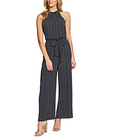 Dot-Striped Belted Jumpsuit