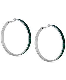 """Large Silver-Tone Python-Print Hoop Earrings 2-1/2"""""""