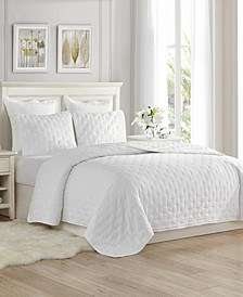 Super Soft Dot Embroidery Quilt Coverlet Set - Full/Queen