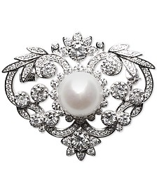Cultured Freshwater Pearl (12mm) & Cubic Zirconia Pin in Sterling Silver
