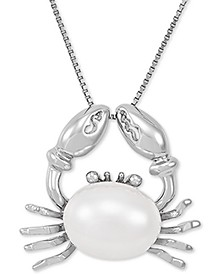 "Cultured Freshwater Pearl (9mm) Crab 18"" Pendant Necklace in Sterling Silver"