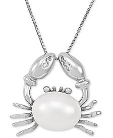 """Cultured Freshwater Pearl (9mm) Crab 18"""" Pendant Necklace in Sterling Silver"""