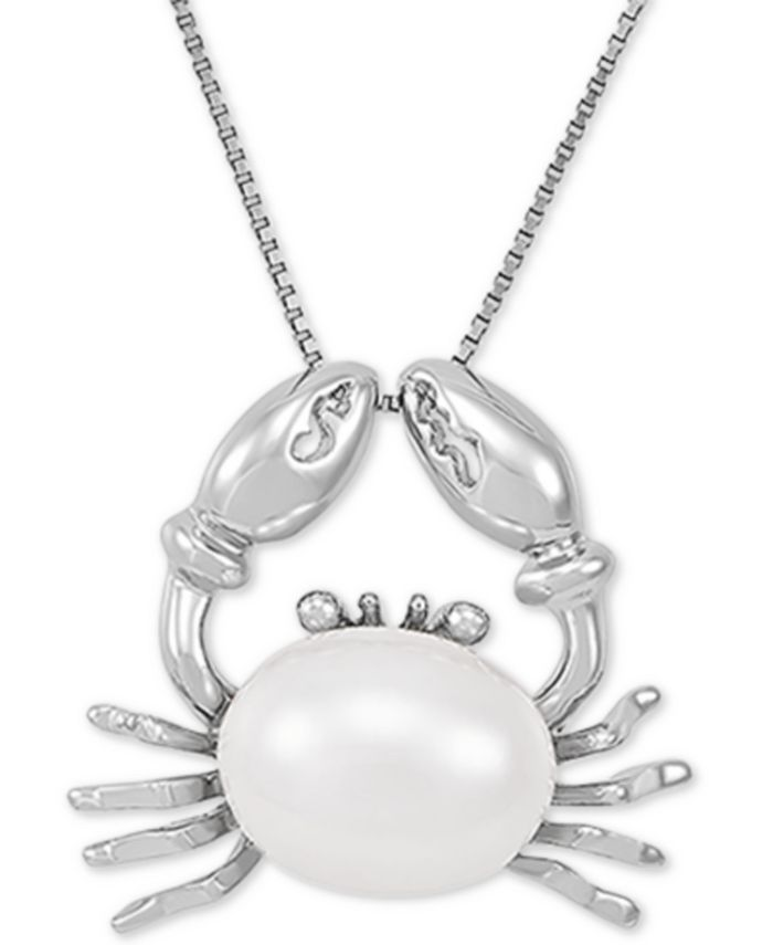 "Macy's - Cultured Freshwater Pearl (9mm) Crab 18"" Pendant Necklace in Sterling Silver"