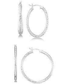 Set of Two Textured Hoop Earrings in 14k Gold Over Silver