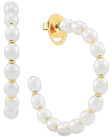 Cultured Freshwater Pearl (4-1/2mm) Hoop Earrings in 14k Gold-Plated Sterling Silver