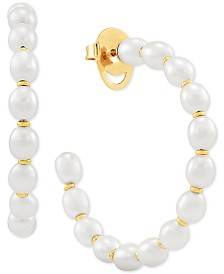Cultured Freshwater Pearl (4-1/2mm) Hoop Earrings in 14k Gold-Plated Sterling Silver