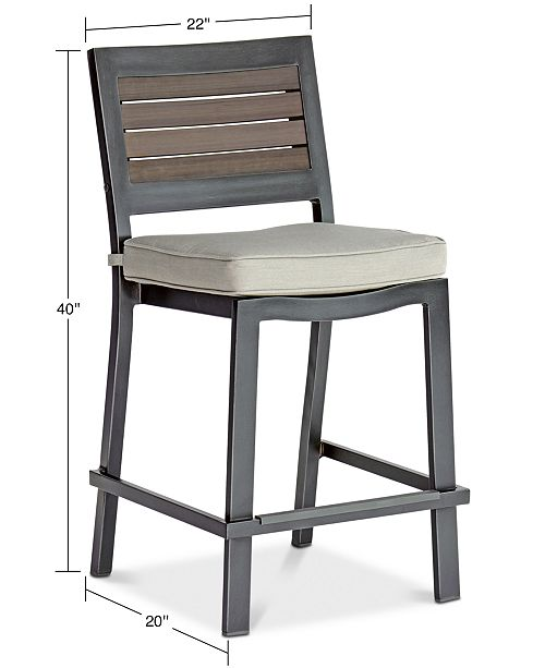 Tremendous Marlough Ii Aluminum Outdoor Bar Stool With Sunbrella Cushion Created For Macys Andrewgaddart Wooden Chair Designs For Living Room Andrewgaddartcom