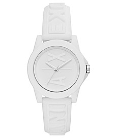 Women's Lady Bank White Silicone Strap Watch 40mm