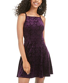 Juniors' Velvet-Embossed Dress