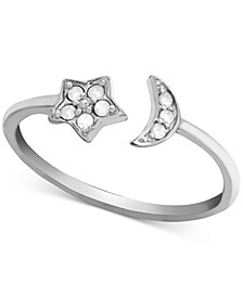 Diamond (1/10 ct. t.w.) Moon & Star Open Ring in Sterling Silver