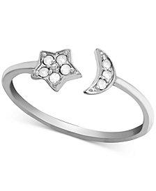 Diamond (1/10 ct. t.w.) Moon & Star Open Ring in Sterling Silver