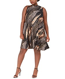 Metallic Animal-Print Trapeze Dress