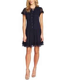 CeCe Ruffled Drop-Waist Dress