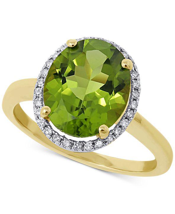 Macy's Peridot (3-1/2 ct. t.w.) & Diamond (1/8 ct. t.w.) Ring in 14k Gold